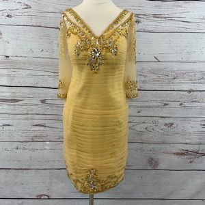 Dress Sale gold yellow beaded pleated tulle dress